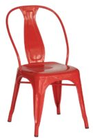 Red Steel Industrial Dining Chair