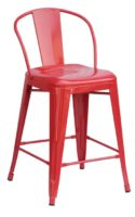 "Red round back 24"" counter stool"